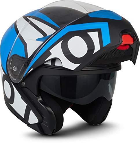 "MOTO Helmets® F19 \""Runner Blue\"" · Motorrad-Helm · Klapp-Helm Modular-Helm Flip-up Integral-Helm Motorrad-Helm Roller-Helm Full-Face Scooter-Helm · ECE Sonnenvisier Schnellverschluss Tasche M (57-58cm)"