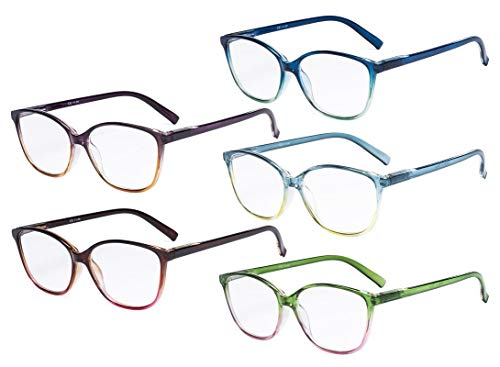 Eyekepper Damen lesen Brille 5er Pack groß Katzenauge Stilvoll Leser Frau +0.75