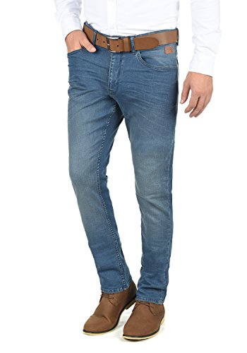 BLEND Taifun Herren Jeans 5-Pocket lange Hose Denim Slim Fit Stretch, Größe:W33/32, Farbe:Denim middleblue (76201) (Gewaschen Slim-fit-denim)