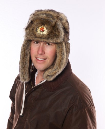 Mens Tracker Trapper Russian Army Fake Fur Ear Flap Cossack Winter