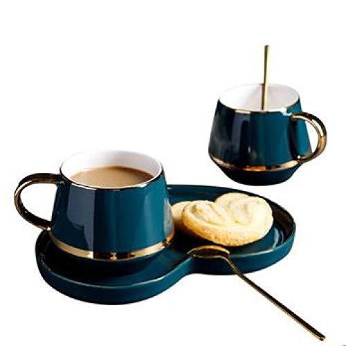 Keramische Kaffeetasse und Untertasse Kleine Luxus einfache Nachmittagstee-Set Getränkehalter Hause Keramische Tasse Set D 180ml