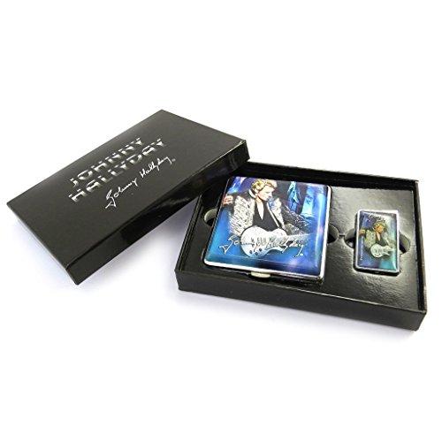 Johnny Halliday [M9759] - Coffret cadeau fumeur 'Johnny Hallyday ' bleu (étui cigarettes + briquet)