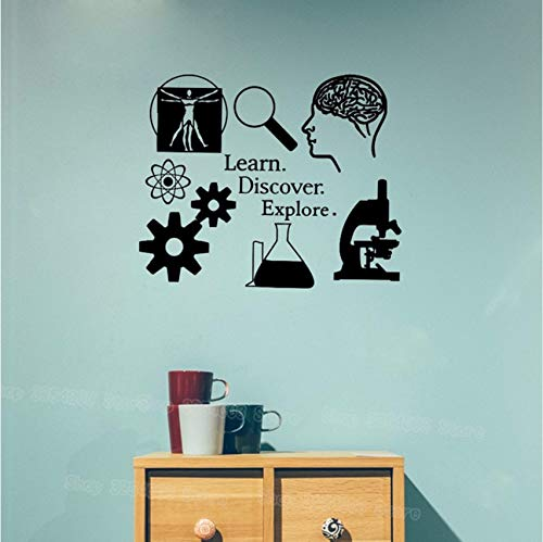 Fushoulu 51X42Cm Lernen Entdecken Entdecken Wandtattoo Wissenschaft Aufkleber Lernen Ich Liebe Wissenschaft Klassenzimmer Dekor Wissenschaftler Decals Für Lehrer