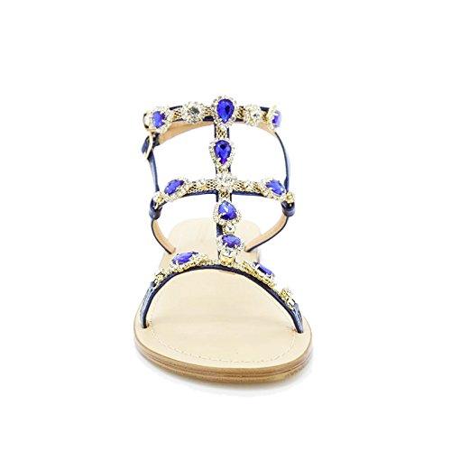 Toocool - Scarpe donna sandali infradito gioiello gladiatore flat Queen Helena 6004 Blu