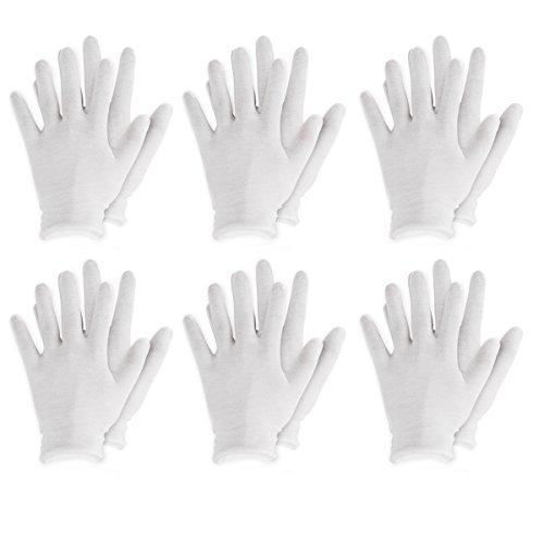Agoky Weiße Handschuhe aus Baumwolle Karneval Fasching Kostüm Zubehör 3 Paar/6 Paar/12 Paar Weiß 6 Paar One_Size (Minnie Maus Kostüm Gruselig)
