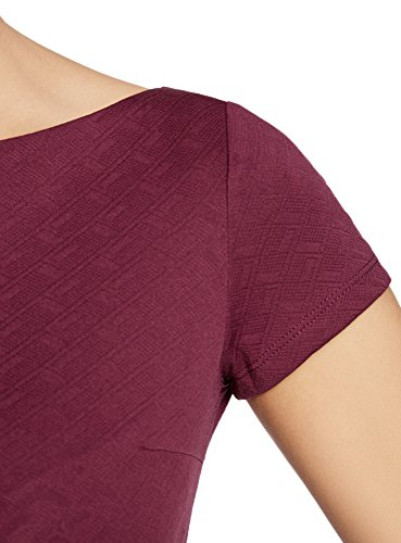 oodji Ultra Damen Kleid aus Strukturiertem Stoff mit U-Boot-Ausschnitt Violett (4900N)