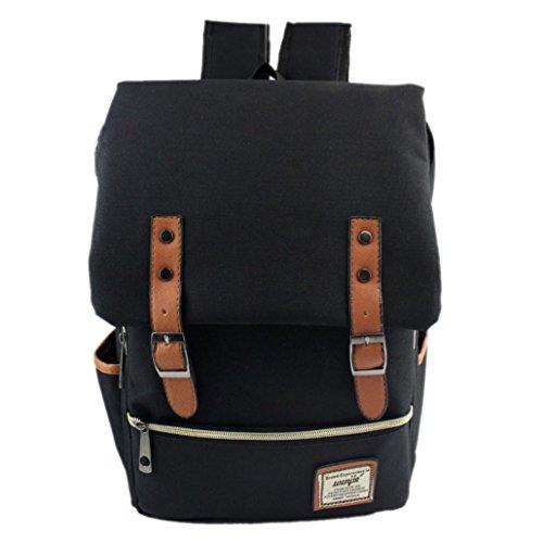 Zolimx Frauen Männer Weinlese Segeltuch Rucksack Schulrucksäcke (Schwarz) (Handtasche Hobo Unterschrift Bag)
