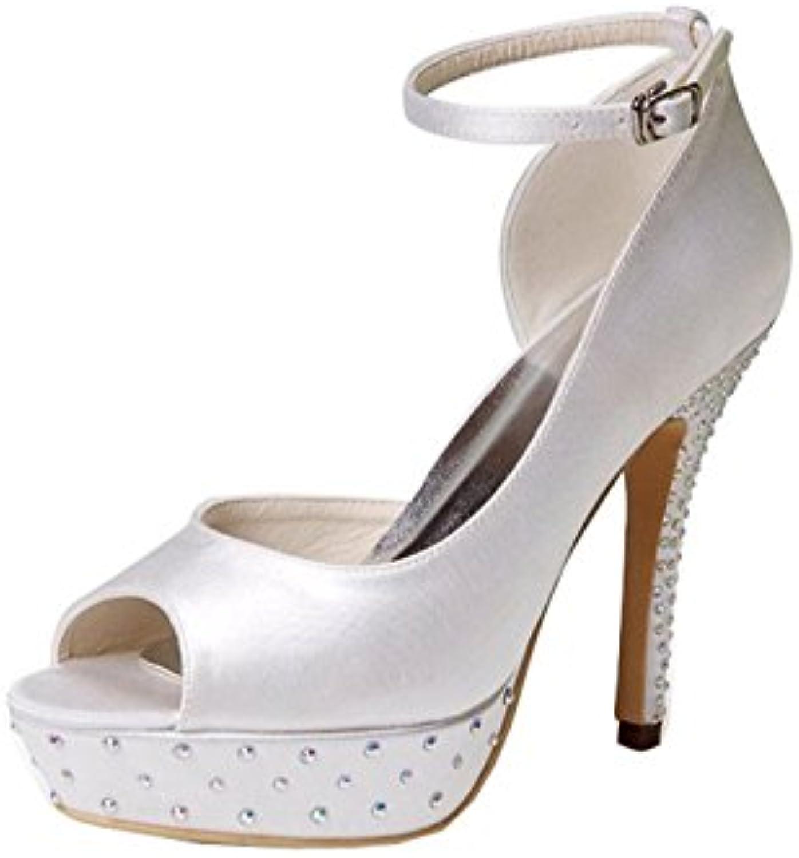 57225f1c93d9 MINITOO GYMZ635 Womens Open Open Open Toe Stiletto Heel Ivory Satin Bridal  Wedding Ankle Strap Sandal
