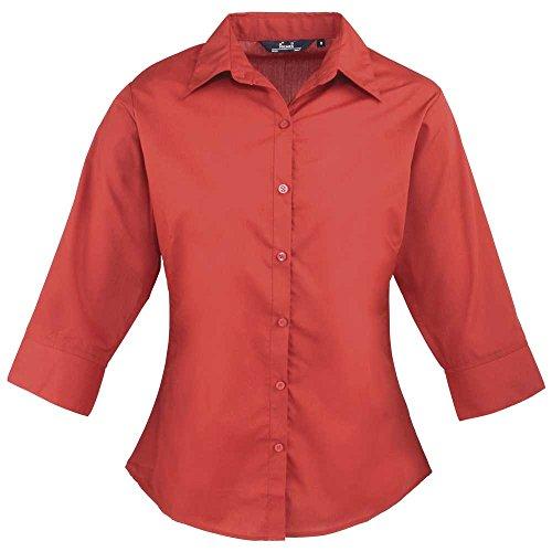 Premier Womens 3/4 Sleeve Popline Formal Work Blouse red