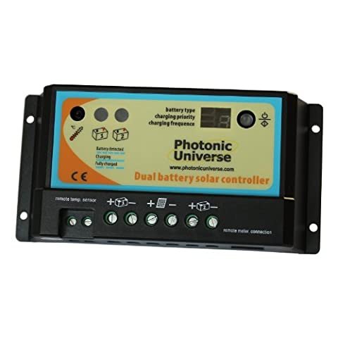 10A dual battery solar charge controller / regulator for motorhome, caravan, boat or any system with two 12V / 24V batteries or battery banks