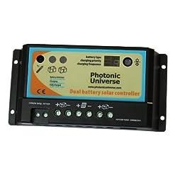 Photonic Universe – Controller/regolatore di carica da pannelli solari, da 10A, per 2 batterie, per camper, caravan, barca o qualsiasi sistema con due batterie a 12V/24V o blocchi di batterie