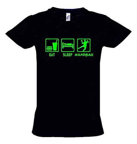 EAT SLEEP HANDBALL Kinder T-Shirt schwarz-green, Gr.164cm