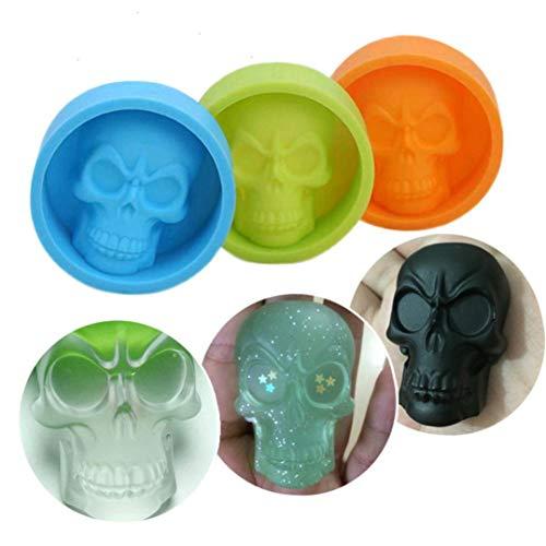 Prevently Silikonform mit Knochen Halloween 3D Skull Silikonform Schokolade Fondant Kuchen Backform zu Machen Kreative Happy Halloween Silikon Kuchen Form, Küche Backen Werkzeuge