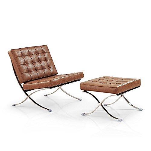 Vivol Barcelona Sessel & Ottoman Hocker (Set) - Moderne Klassiker (Cognac) - Barcelona Hocker