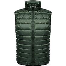 Ake Hombre Chaleco de Pluma Stand Collar Chaleco de Pluma Down Chaquetas Ultra-light Weatherproof Coat