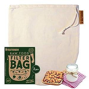 NECTARBAR Eco 2 x Nussmilchbeutel aus Natur Baumwolle Bio Passierbeutel aus Deutschland für vegane Pflanzenmilch, Abseihen, Entsaften – 100% Plastikfrei mit Anleitung