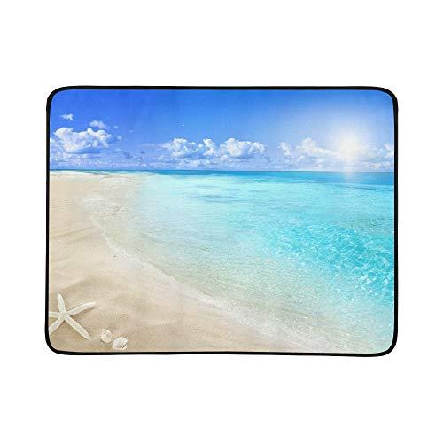WOCNEMP Shells On Sunny Beach Tragbare und Faltbare Deckenmatte 60x78 Zoll Handliche Matte für Camping Picknick Strand Indoor Outdoor Reise -