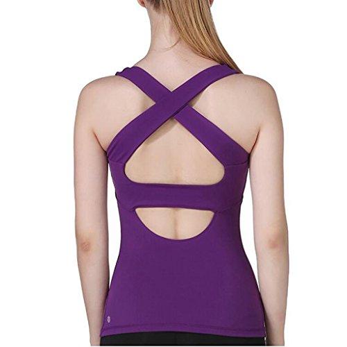 ZCJB Abbigliamento Da Yoga Elasticità Femminile Sottili Abiti Da Allenamento Sottili Imbracatura Sudore Igroscopico Con Gilet Yoga ( Colore : Nero , dimensioni : S. ) Viola