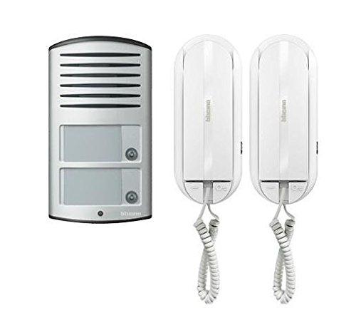 BTicino 366821 Kit Audio 2 Fili bifamiliare con pulsantiera Linea 2000 da Parete e citofono Sprint L2