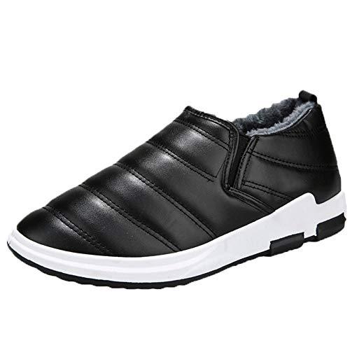 Bottes Homme Hiver, Manadlian Martin Bottes Cuir Waterproof Chaussures Mode Courts avec Doublure Chaude Boots Noir Bleu Brun Taille 39-44