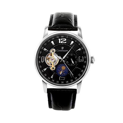Continuum Herren-Armbanduhr Automatik Analog Leder Schwarz - C15H19