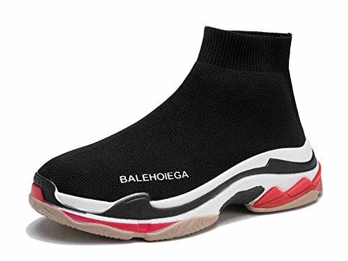 Männer Und Frauen Leichte Laufschuhe 2018 Neue Sportschuhe Atmungsaktive Socken Schuhe Stretch High Top Freizeitschuhe ( Color : Black , Size : 42 ) High-tops-tennis-schuhe Für Frauen