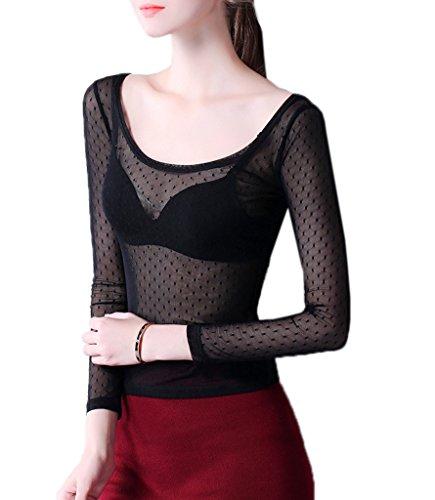 Smile YKK T-shirt Transparent Femme Dentelle Chemise Top Manches Longues Blouse Pull Col Rond Noir Pois