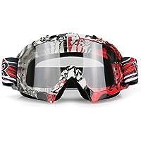 JamieWIN - Gafas protectoras para motocicletas, quads o para practicar esquí, snowboard, para hombre y para mujer con protección ante los rayos UV, disponible en  7 olores diferentes, Hombre, C62-WH, transparente