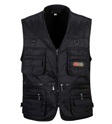 Herren Work Fishing Vests Leichte Safari-Reiseweste mit Mehreren Taschen (Color : Black, Size : L)