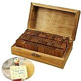 DIY Siegel, 70 Stück, englische Buchstaben, Siegel, Handwerkssymbol, Alphabet, Zahlen, Mehrzweck-Holzdichtung mit Holzbox print form Print Form