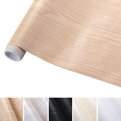 KINLO Pegatina Mueble de Madera Ropa 0.61 x 5M Vinilo Autoadhesivo Papel Pintado Impermeable para Gabinetes/Muebles/Pared/Vidrio/Electrodomesticos