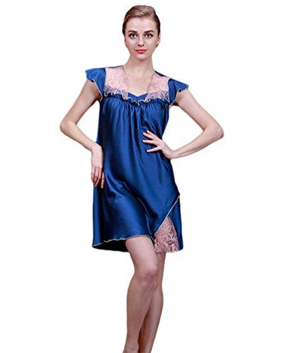 NiSeng Damen Sleepshirt Spitze Kurze Ärmel Nachtkleidchen Für Schlafzimmer Marine
