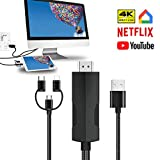 YEHUA Adaptateur de USB C Phone vers HDMI,3-en-1 Câble Lighting HDMI vers TV,Convertisseur Type c Mini USB HDTV AV 4K@60Hz pour Netflix,HBO Support Phone/Pad/Android/Samsung/Huawei au Moniteur,2m