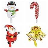 ZSQQSCL 4 Pcs Jahr Weihnachten Luftballons Cartoon Santa Mini Schneemann Form Weihnachten Ballons Party Deko, Gemischt