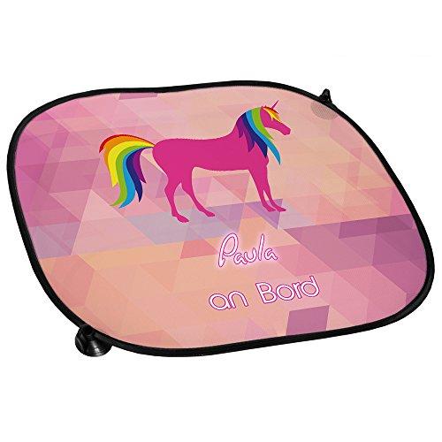 Auto-Sonnenschutz mit Namen Paula und süßem Einhorn-Motiv mit Regenbogen-Mähne für Mädchen - Auto-Blendschutz - Sonnenblende - Sichtschutz