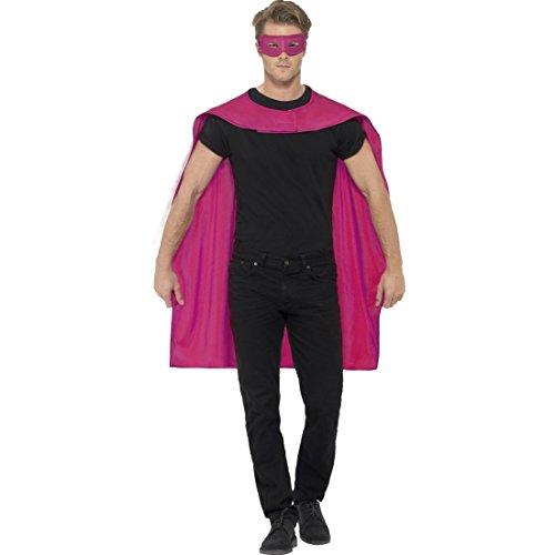 Amakando Superheld Kostüm Superheldenumhang & Maske pink Helden Kostüm Erwachsene Superman Umhang und Augenmaske Superhelden Cape Outfit Superhero Karnevalskostüm (Erwachsene Superhelden-outfits Für)