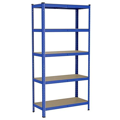 Yaheetech scaffale in metallo acciaio per carichi pesanti capacità portata 875 kg a 5 ripiani da garage magazzino mensola angolare da cucina salvaspazio 180 x 90 x 40 cm