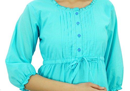 Bimba Manches 3/4 robe d'été en coton maxi cordon de la taille des femmes bleu ciel