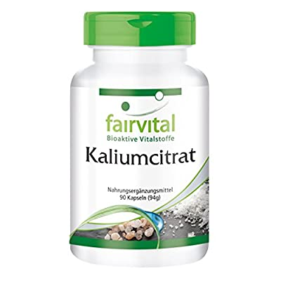 Potassium citrate, vegan, without magnesium stearate, 90 capsules, essential mineral by fairvital