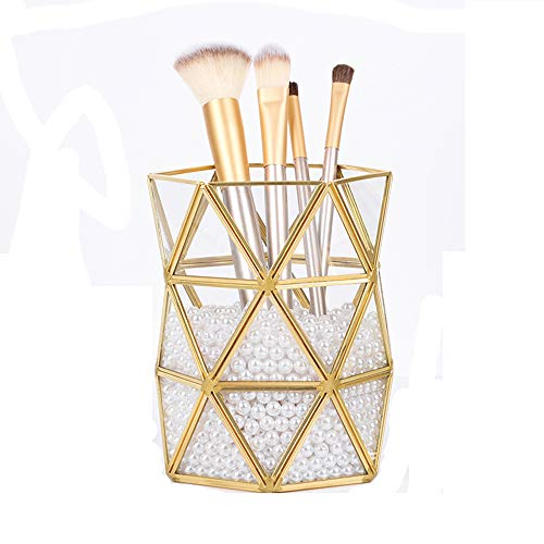 Creative simple Golden Retro maquillage brosse en laiton verre tube de stockage durable Insert vase pinceau crayon de stockage de la beauté baril de balai