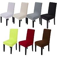 Vinteky® Spandex Protecdor moderna,Estirable Cubierta de silla para la decoración y la protección con banda elástica.Ajuste universal,Bielástico extraíble funda,lavable y duradera (Rojo Vino, 6)
