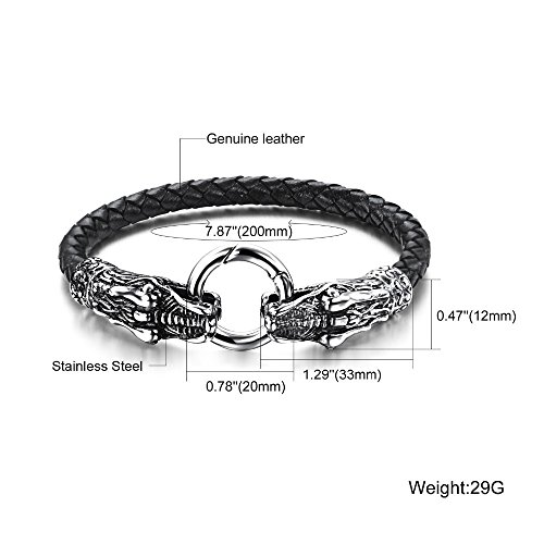 mese london cuir bracelet dragon noir dor argent pour homme viking de t te de serpent bijoux. Black Bedroom Furniture Sets. Home Design Ideas