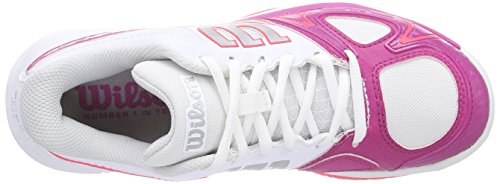Wilson  RUSH EVO WOMAN, Baskets de tennis femme Multicolore - Mehrfarbig (White / Fiesta Pink / Neon Red)