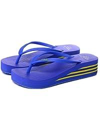 Sandalias de verano multicolores Zapatillas antideslizantes de plástico para mujer Negro, Azul-1, Azul-2, Marrón, Rosa, Rojo, Amarillo ( Color : Blue-2 , Tamaño : EU36/UK4/CN36 )