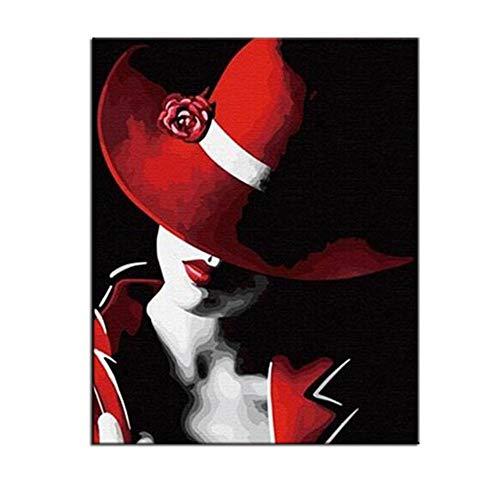 RYUANYUAN Handgemalte Digitale Färbung Durch Zahlen Kühlen Hut Frauen-Ölbilder Kunst-Moderne Malereibilder Der Wand Sala Estar Ab 16x20 inch (40x50 cm) Rahmenlos (Armee-digital-hut)