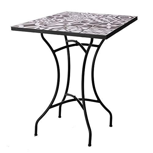 Mesa de jardín de Hierro con Mosaico Gris para terraza Garden ...