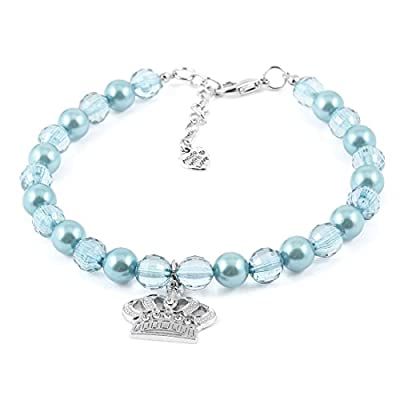 Sourcingmap Faux Pearl Beads Linked Pet Dog Doggie Collar Necklace, Large, Baby Blue