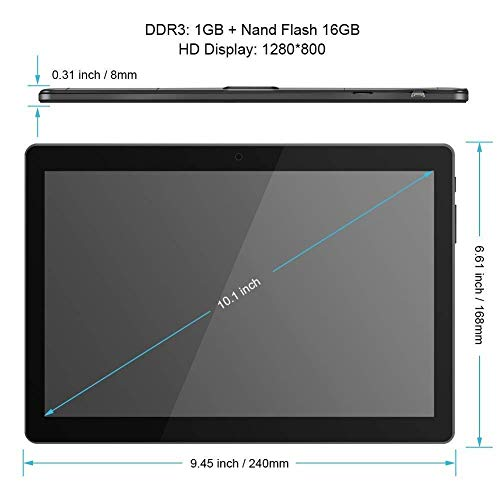 10 inch Tablet Android Octa Core Tablet with 4GB RAM 64GB ROM Tablet PC Built in WiFi and Camera GPS Two Sim Card Slots Unlocked 3G Phone Call Phablet (black) - 2