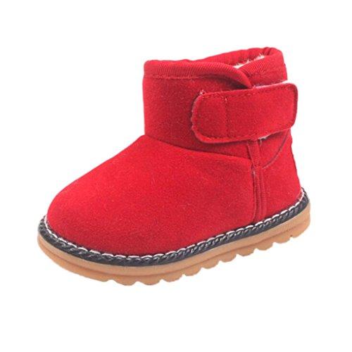 Clode® Winter-weich Sohle Krippe Warm Knopf Wohnungen Cotton Boots Rot