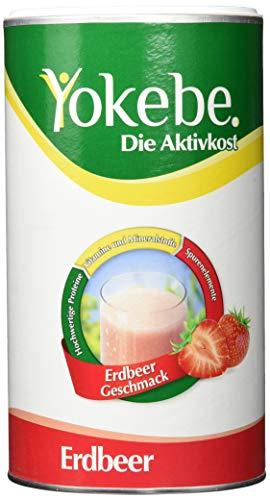 Yokebe Erdbeer Diätshake zum Abnehmen, Mahlzeitersatz mit hochwertigen Proteinen, 10 Portionen, 500 g